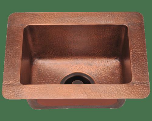 Polaris P509 Small Single Bowl Copper Sink 16-1/2 Inch Hammered Copper