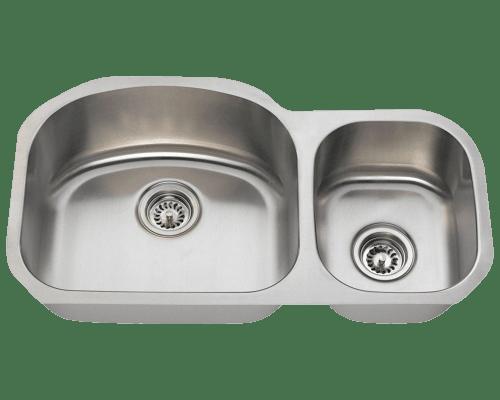 Polaris PL105 Offset Stainless Steel Kitchen Sink 32-1/8 Inch Brushed Satin