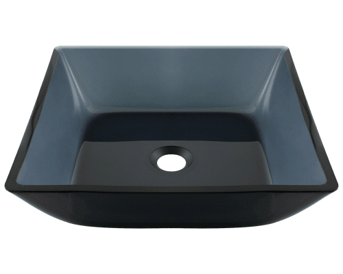 Polaris P036 Square Black Glass Vessel Bathroom Sink 15-3/4 Inch Colored Glass