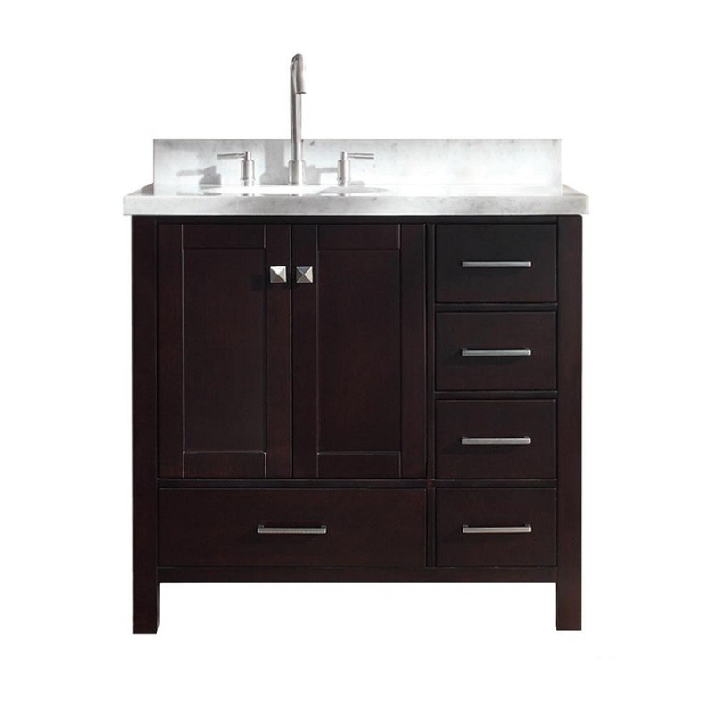 ARIEL A037S-L-VO CAMBRIDGE 37 INCH SINGLE SINK VANITY WITH LEFT OFFSET SINK