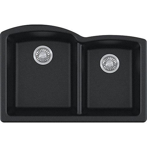 Franke ELG160ONY Ellipse 33 Inch Undermount Double Bowl Granite Kitchen Sink  In Onyx