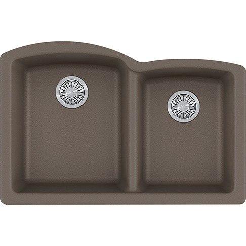 Franke ELG160STO Ellipse 33 Inch Undermount Double Bowl Granite Kitchen Sink in Storm