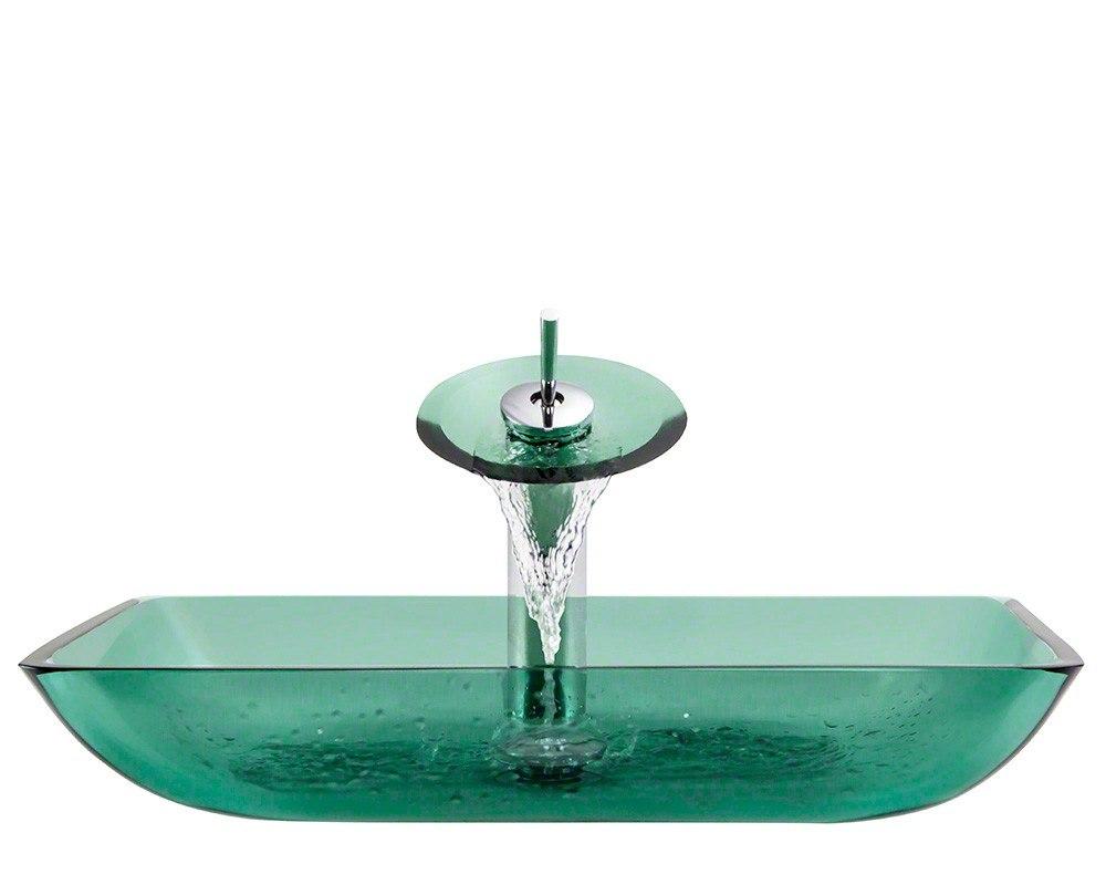Polaris P046-E-WF 16-1/4 Inch Emerald Bathroom Waterfall Faucet Ensemble