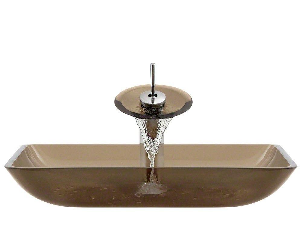 Polaris P046-TAU-WF 16-1/4 Inch Taupe Bathroom Waterfall Faucet Ensemble