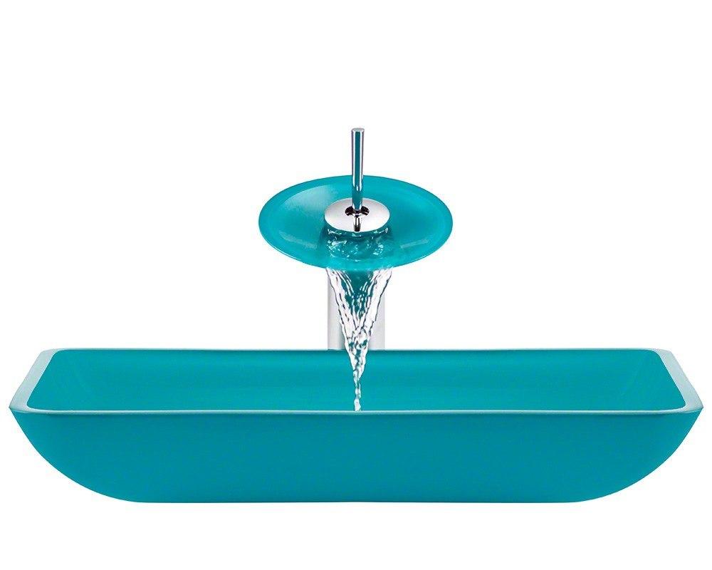 Polaris P046-TQ-WF 16.38 Inch Turquoise Bathroom Waterfall Faucet Ensemble