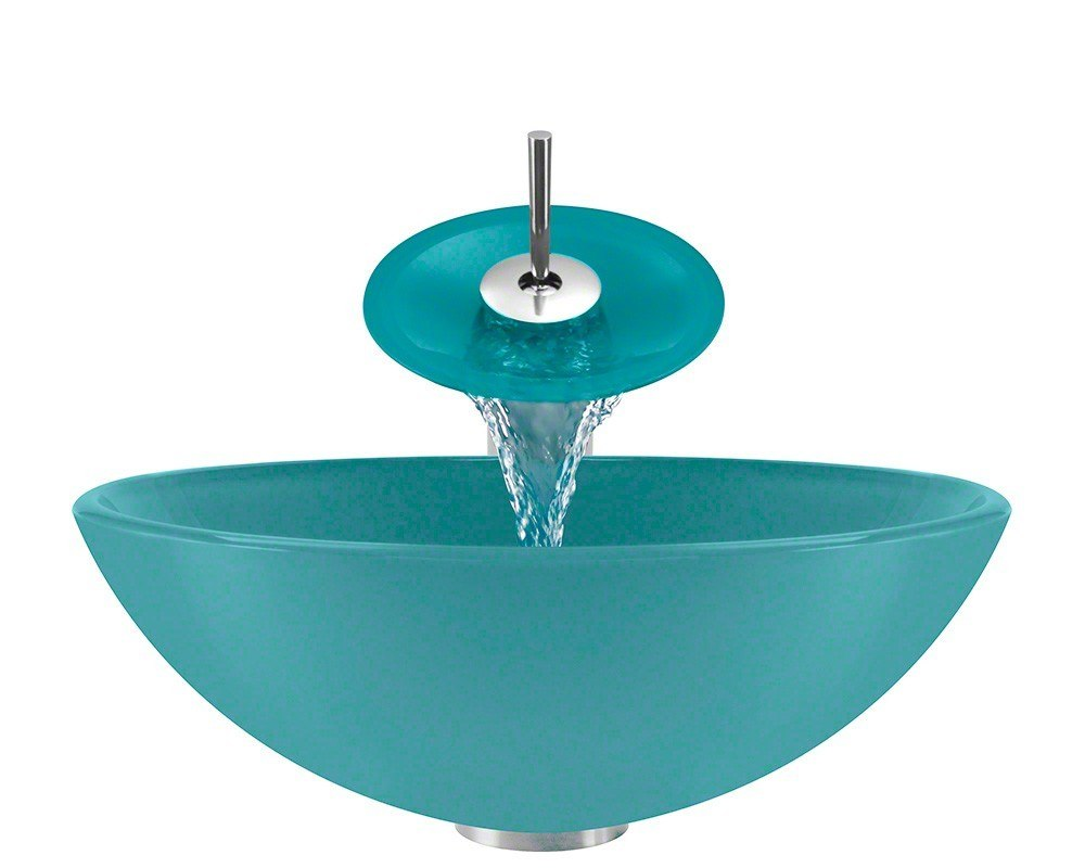 Polaris P106-TQ-WF 16-1/4 Inch Turquoise Bathroom Waterfall Faucet Ensemble