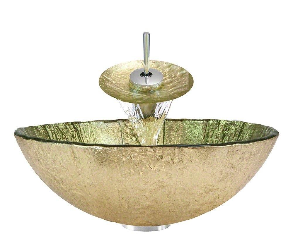 Polaris P326-WF 16-1/4 Inch Gold Foil Bathroom Waterfall Faucet Ensemble