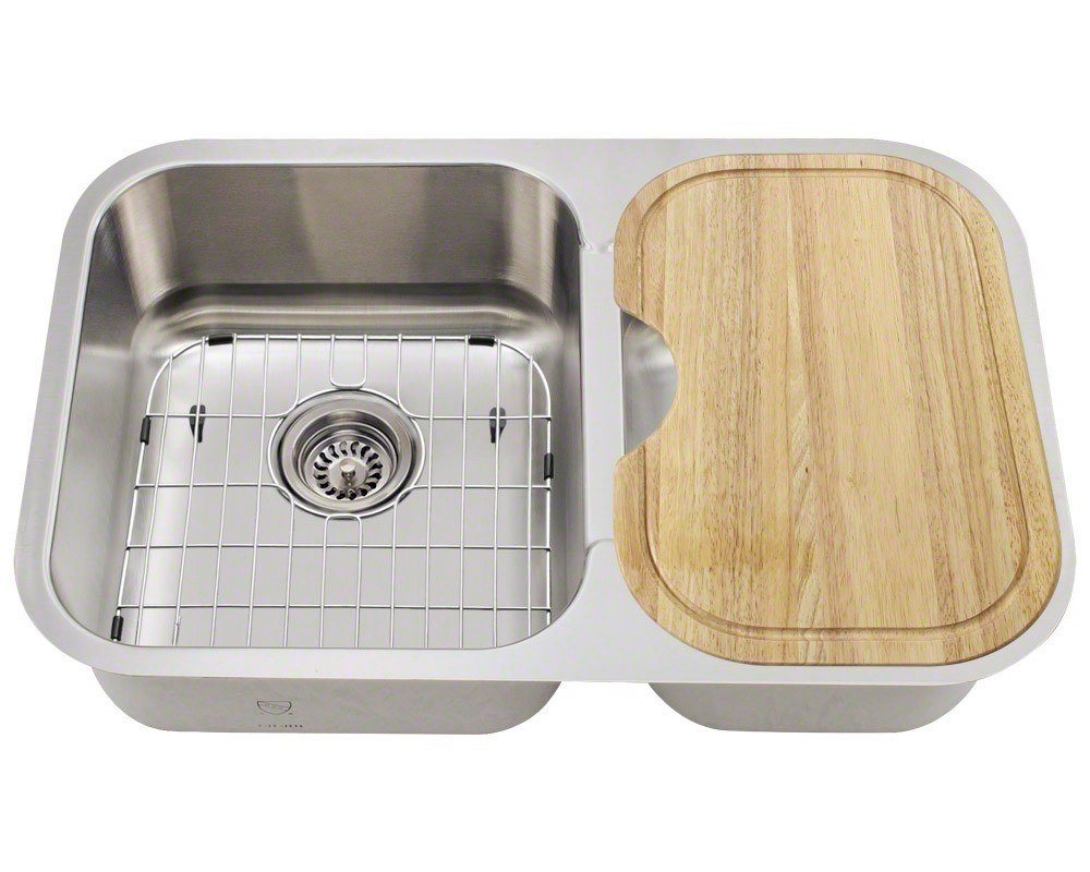POLARIS PL035-ENS 18 GAUGE KITCHEN ENSEMBLE (SINK, 2 STANDARD STRAINERS, 2  SINK GRIDS, AND CUTTING BOARD)