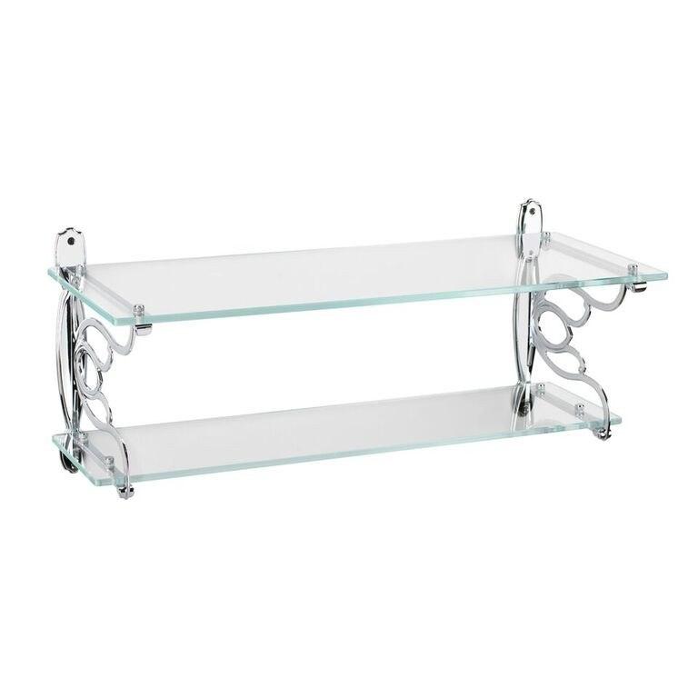 Topex 12136A40 Double Glass Bathroom Shelf Bright Chrome Center to Center 21 Inches