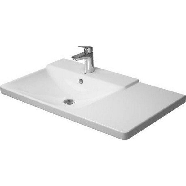 DURAVIT 233385 P3 COMFORTS 33-1/2 X 19-1/2 INCH WHITE FURNITURE WASHBASIN WITH OVERFLOW AND TAP PLATFORM, BOWL ON LEFT SIDE