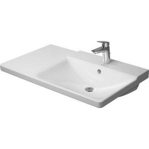 DURAVIT 233485 P3 COMFORTS 33-1/2 X 19-1/2 INCH WHITE FURNITURE WASHBASIN WITH OVERFLOW AND TAP PLATFORM, BOWL ON RIGHT SIDE