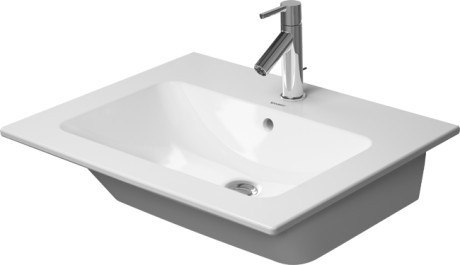 Duravit 233663 Me by Starck 24-3/4 Inch White Wall Mounted Washbasin with Overflow and Tap Platform