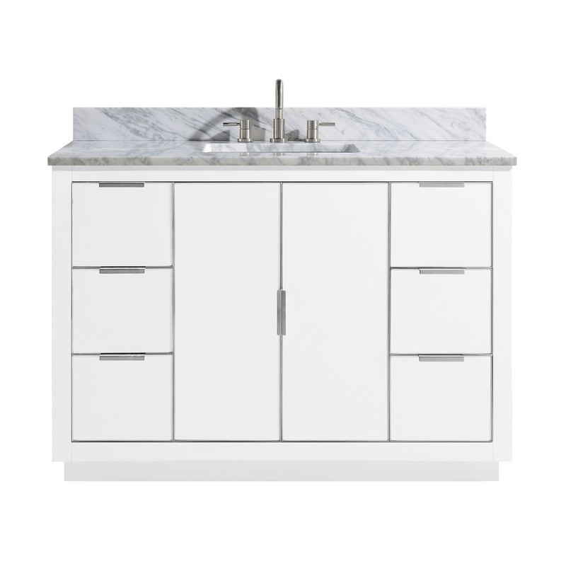 AVANITY AUSTEN-VS49-WTS-C AUSTEN 49 INCH VANITY COMBO IN WHITE WITH SILVER TRIM AND CARRARA WHITE MARBLE TOP