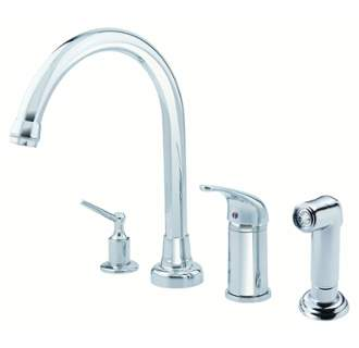 Danze D409112 Melrose 1H High-Rise Kitchen Faucet w/ Soap Dispenser & Spray  1.75gpm Aeration/2.2gpm Spray