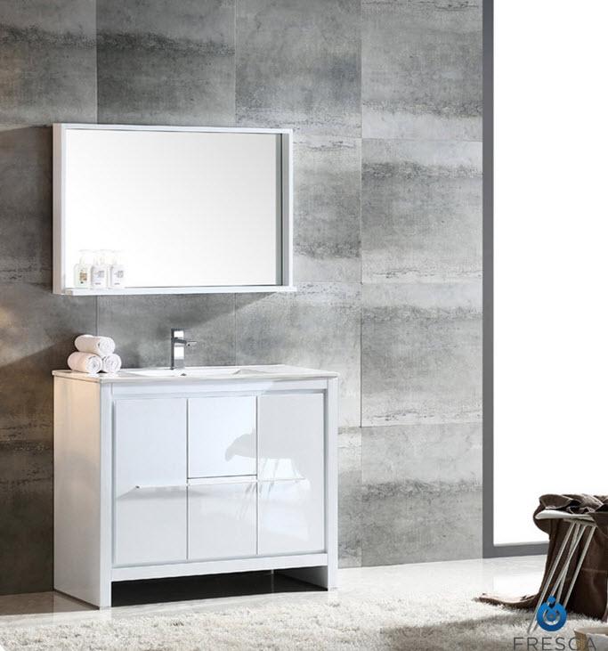 Fvn8140wh Allier 40 Inch White Modern Bathroom Vanity W Mirror Fvn8140wh Fst8130wh Allier 40 Inch White Modern