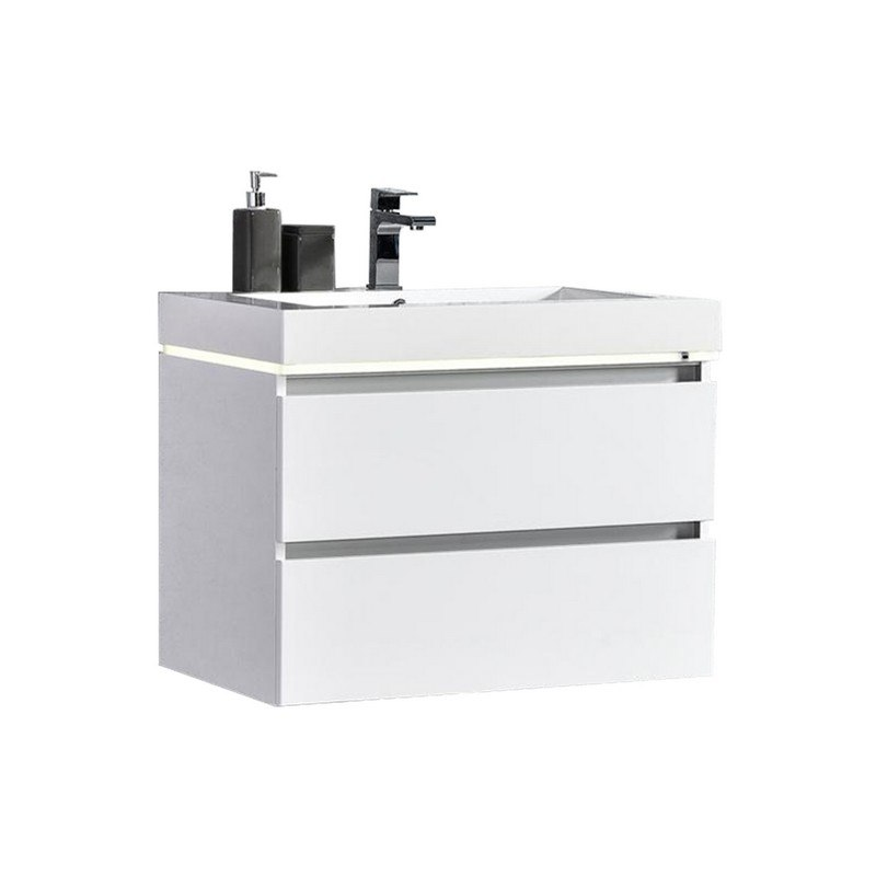 Mtd Mtd Lv30w Maui 30 Inch Led Illuminated Single Sink Wall Mount Floating Bathroom Vanity With Acrylic Top Mtd Lv30w