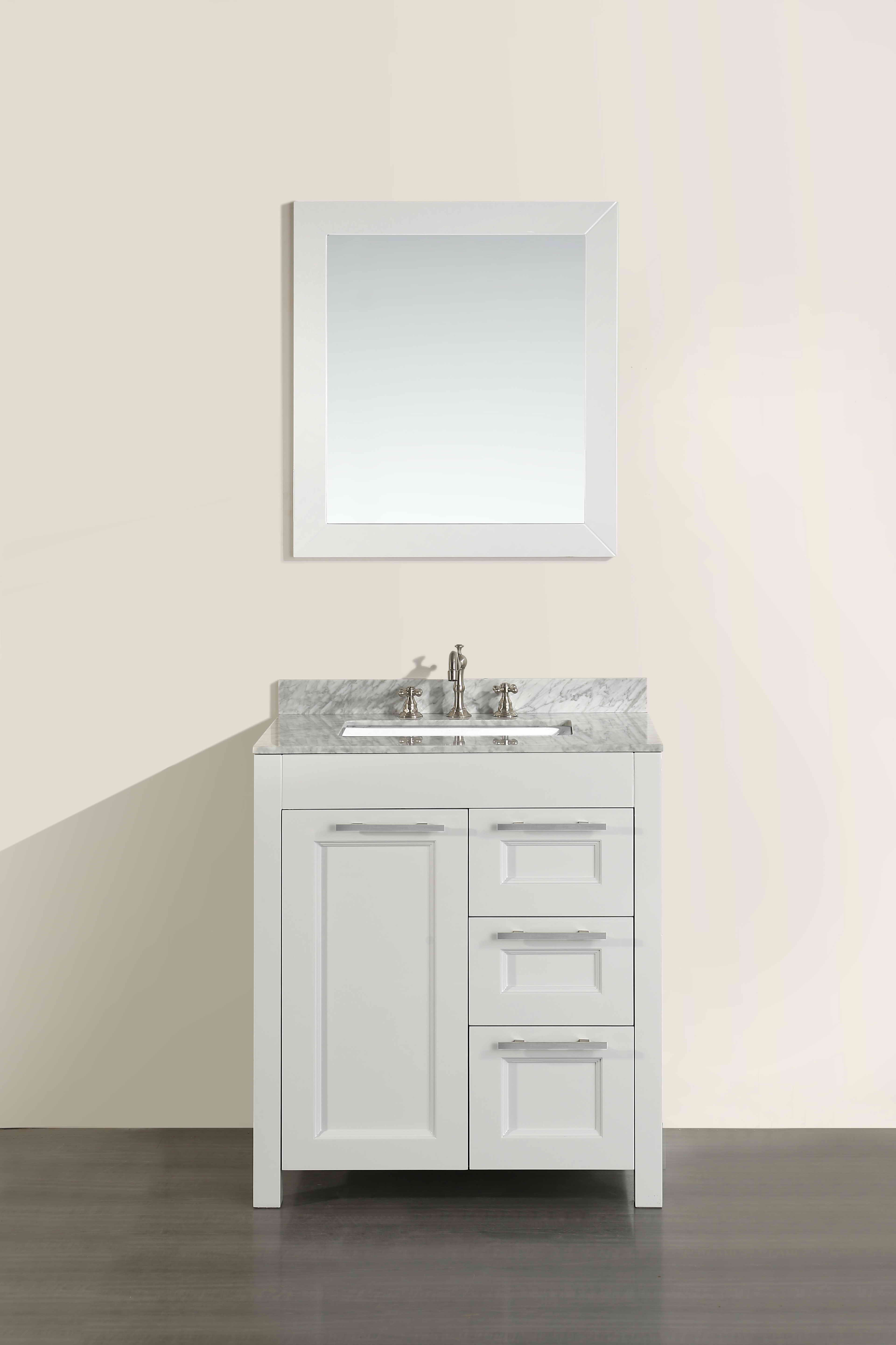 Bosconi SB-267-1CM 30 Inch Single Vanity in White Finish