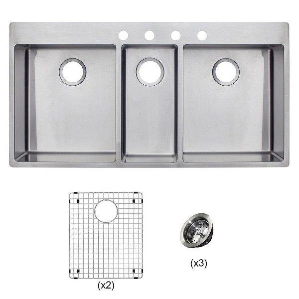 Franke HFT4322-4KIT Vector 43 Inch Dual Mount Triple Bowl Polished Satin Kitchen Sink Kit