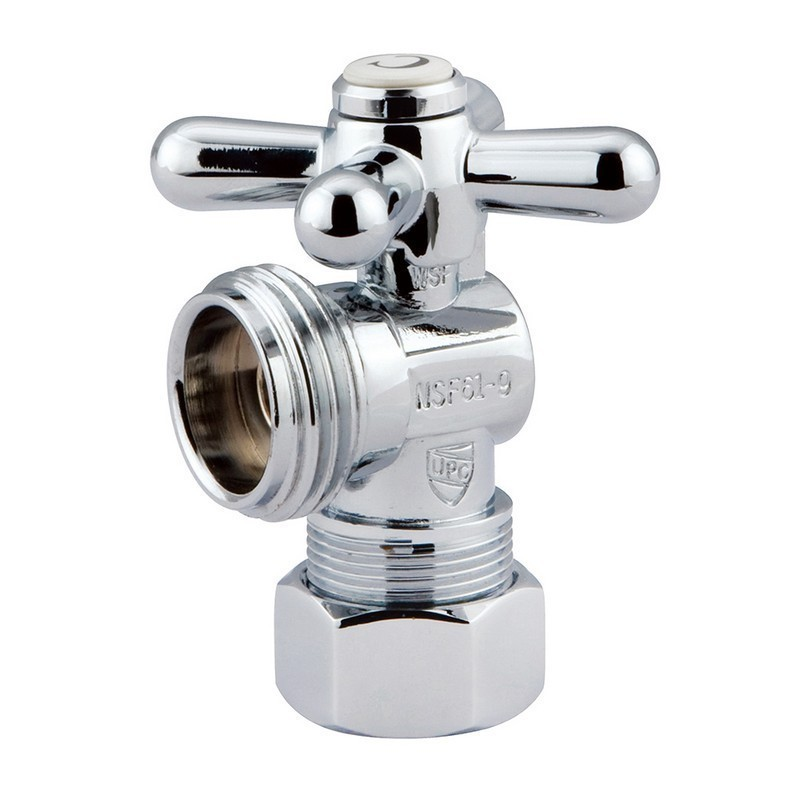 KINGSTON BRASS CC12001X VINTAGE 5/8 INCH O.D. COMPRESSION, 3/4 INCH HOSE THREAD ANGLE SHUT-OFF VALVE IN CHROME