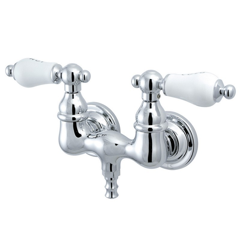 KINGSTON BRASS CC34T1 VINTAGE 3-3/8 INCH WALL MOUNT TUB FILLER IN POLISHED CHROME
