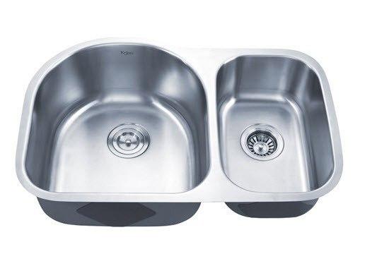 Kraus KBU21 30 Inch Undermount 60/40 Double Bowl 16 Gauge Stainless Steel Kitchen Sink
