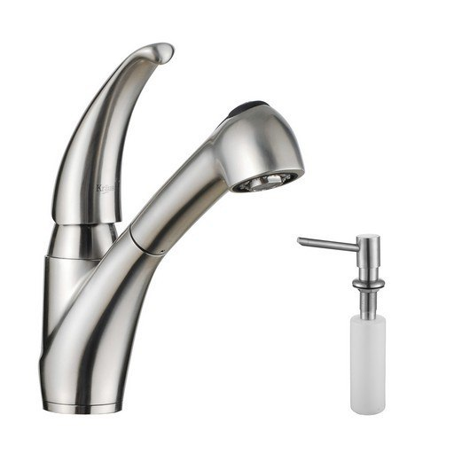 Kraus KPF-2110-SD20 Single Lever Stainless Steel Pull Out Kitchen Faucet & Soap Dispenser