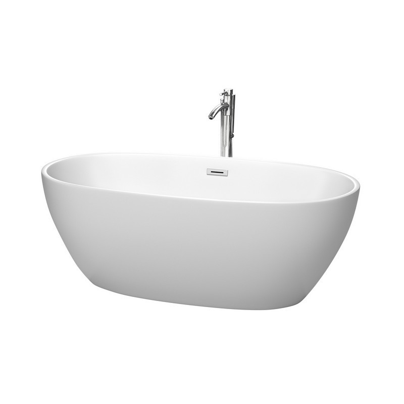 WYNDHAM COLLECTION WCBTE306163MWATP11 JUNO 63 INCH FREESTANDING BATHTUB IN MATTE WHITE WITH FLOOR MOUNTED FAUCET, DRAIN AND OVERFLOW TRIM