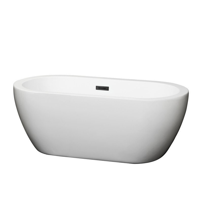WYNDHAM COLLECTION WCOBT100260TRIM SOHO 60 INCH FREESTANDING BATHTUB IN WHITE WITH DRAIN AND OVERFLOW TRIM