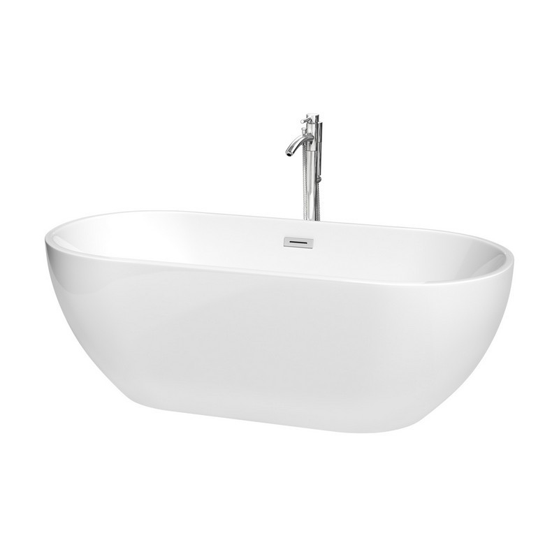 WYNDHAM COLLECTION WCOBT200067ATP11 BROOKLYN 67 INCH FREESTANDING BATHTUB IN WHITE WITH FLOOR MOUNTED FAUCET, DRAIN AND OVERFLOW TRIM