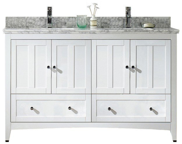 American Imaginations AI-17717 Shaker 59.5 W x 18 D Inch Vanity Set in White
