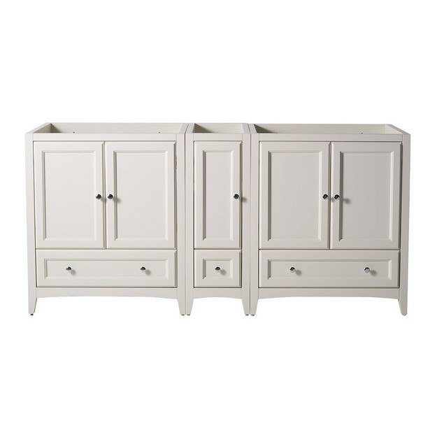 FRESCA FCB20-301230AW OXFORD 71 INCH ANTIQUE WHITE TRADITIONAL DOUBLE SINK BATHROOM CABINETS