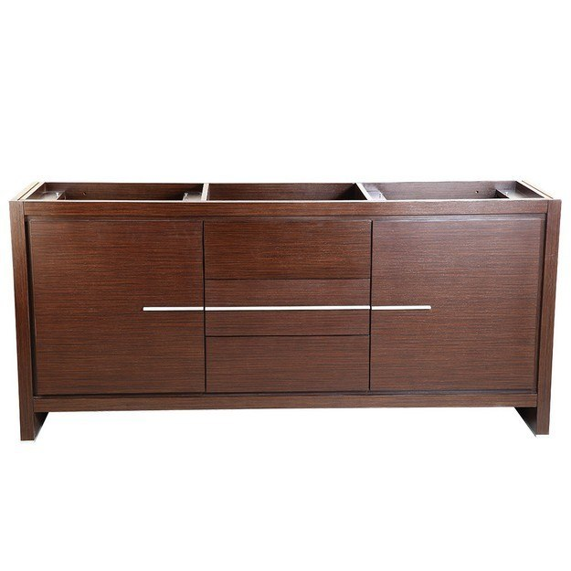FRESCA FCB8172WG ALLIER 72 INCH WENGE BROWN MODERN DOUBLE SINK BATHROOM CABINET