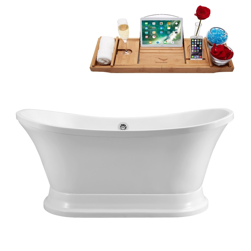 STREAMLINE N200CH 60 INCH SOAKING FREESTANDING TUB WITH TRAY AND EXTERNAL CHROME DRAIN