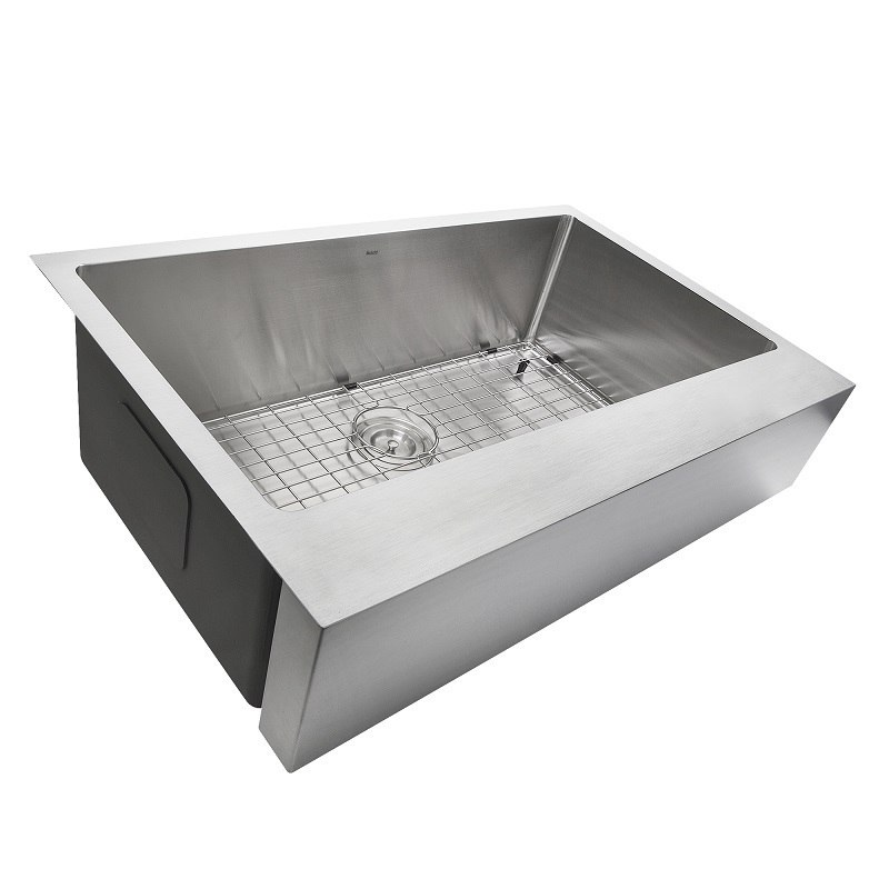 NANTUCKET EZAPRON33 PRO SERIES 33 INCH SINGLE BOWL UNDERMOUNT STAINLESS STEEL KITCHEN SINK WITH 7 INCH APRON FRONT