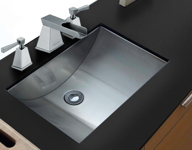 RUVATI RVH6110 ARIASO 21 X 15 INCH BRUSHED STAINLESS STEEL UNDERMOUNT BATHROOM SINK