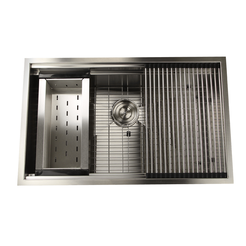 Nantucket ZR-PS-3220-16 Pro Series 32 Inch Large Prep Station Single Undermount Bowl Stainless Steel Kitchen Sink
