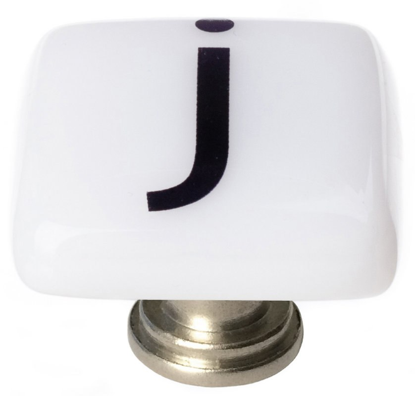 Sietto K-1109 New Vintage Letter J 1-1/4 Inch Square Cabinet Knob