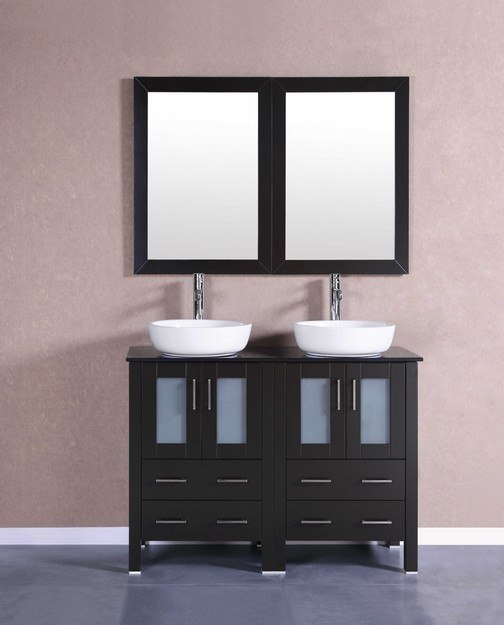 Bosconi AB224BWLBG 48 Inch Double Vanity Set in Espresso