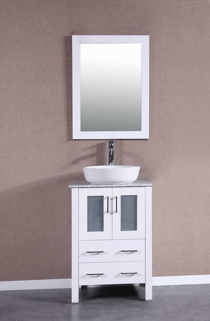 Bosconi AW124BWLCM 24 Inch Single Vanity Set in White