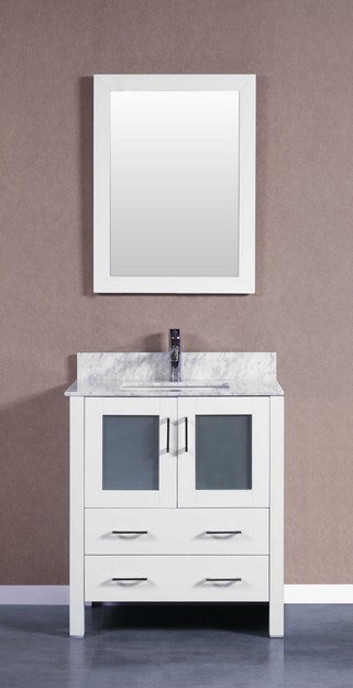 Bosconi AW130CMU 30 Inch Single Vanity Set in White