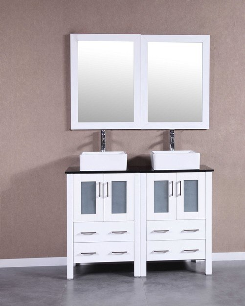 Bosconi AW224CBEBG 48 Inch Double Vanity Set in White