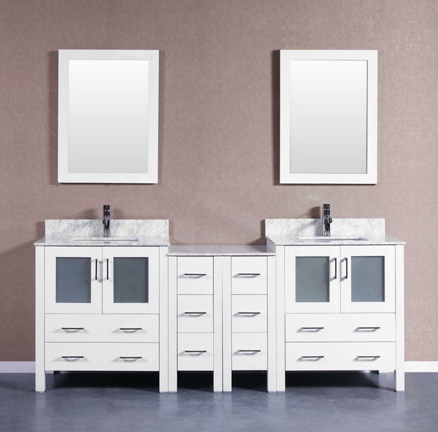 Bosconi AW230CMU2S 84 Inch Double Vanity Set in White