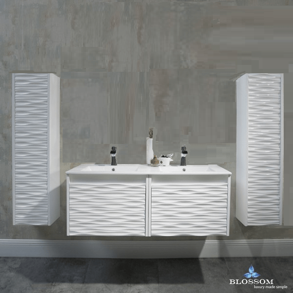 BLOSSOM 008 48 01 SC NM PARIS 48 INCH DOUBLE VANITY SET WITH SIDE CABINETS IN GLOSSY WHITE