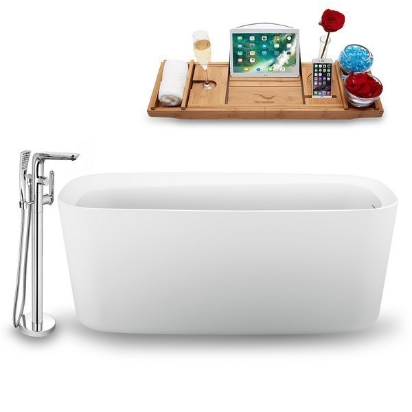 STREAMLINE N1640ROB-120 59 INCH FREE-STANDING TUB IN GLOSSY WHITE WITH TRAY, INTERNAL DRAIN IN MATTE RUBBED OIL BRONZE AND FAUCET H-120-TFMSHCH