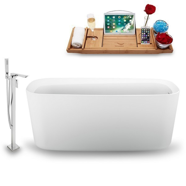 STREAMLINE N1640ROB-140 59 INCH FREE-STANDING TUB IN GLOSSY WHITE WITH TRAY, INTERNAL DRAIN IN MATTE RUBBED OIL BRONZE AND FAUCET H-140-TFMSHCH
