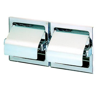 Geesa 117 Standard Hotel Recessed Double Toilet Roll Holder with Cover