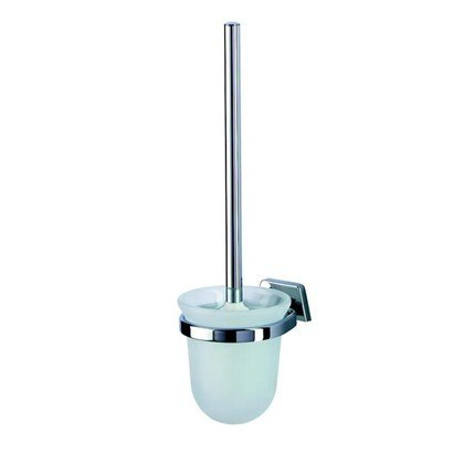 Geesa 5117 Standard Hotel Wall Mounted Frosted Glass Toilet Brush Holder with Chrome Mounting