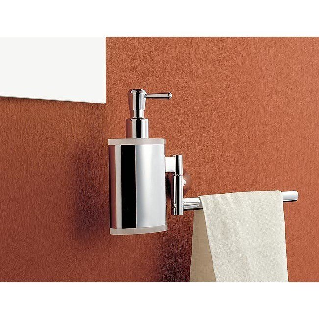 TOSCANALUCE 5528 KOR 13 INCH CHROME TOWEL BAR WITH BRASS SOAP DISPENSER