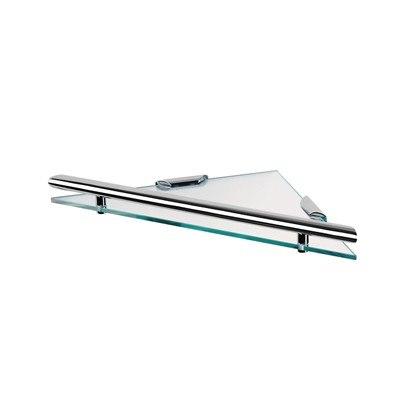 GEESA 6521-02 NEMOX COLLECTION 11.12 INCH TRIANGULAR CLEAR GLASS BATHROOM SHELF