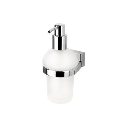 GEESA 7016 BLOQ COLLECTION WALL MOUNTED FROSTED GLASS SOAP DISPENSER WITH CHROME MOUNTING